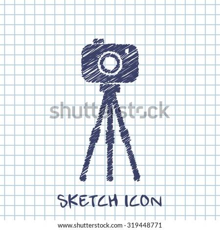 Camera on tripod icon - stock vector