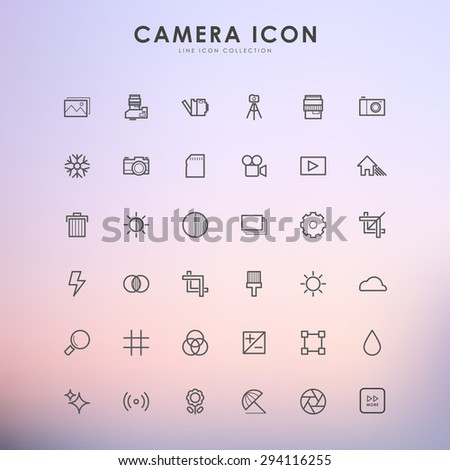 camera outline icons on gradient background - stock vector