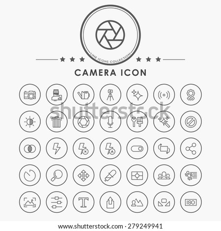 camera outline icons with circle button - stock vector