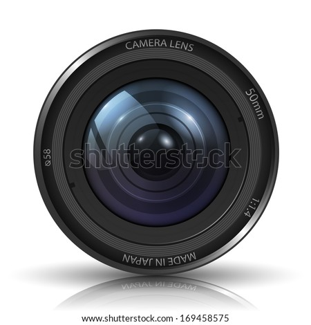 Camera photo lens - isolated on white background. Photo-realistic vector.