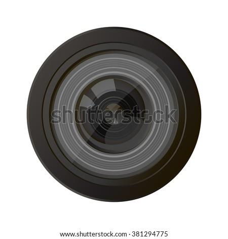Camera photo lens vector. Camera lens vector illustration with realistic reflections. Camera photo lens shutter and camera photo lens realistic sign. Camera photo lens equipment. Camera photo lens. - stock vector