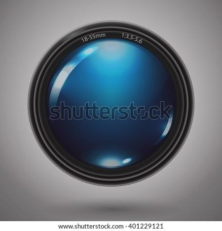 Camera photo lens. Vector Illustration. - stock vector