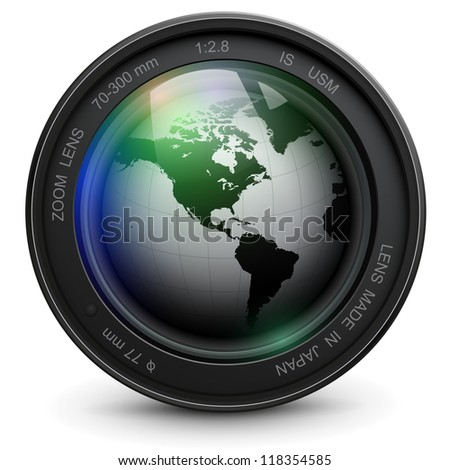 Camera photo lens with earth globe inside, vector. - stock vector