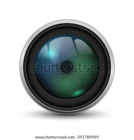 camera photo lens with shutter - stock vector