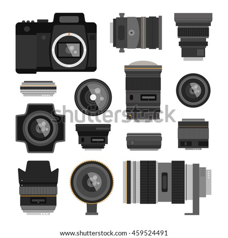 Camera photo optic lenses set on white background. Different types objective equipment, professional look photo optic lenses. Photo optic lenses digital equipment optical technology - stock vector