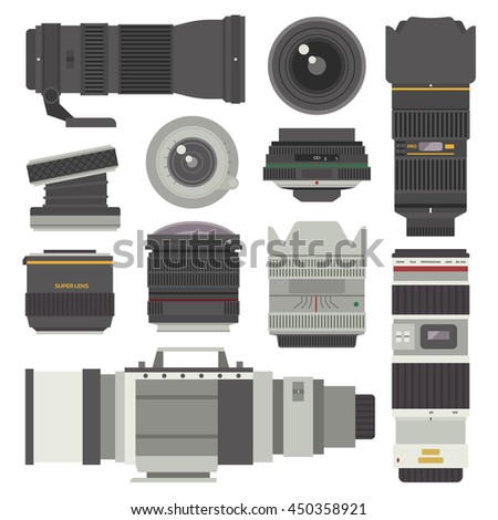 Camera photo optic lenses set on white background vector. Different types objective equipment, professional look photo optic lenses. Photo optic lenses digital equipment optical technology. - stock vector