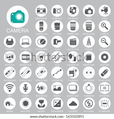 camera Photography icons - stock vector