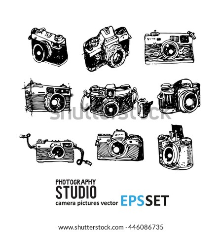 Camera photography vector set collection illustration. - stock vector