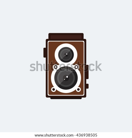 Camera retro vintage style icon flat design vector illustration