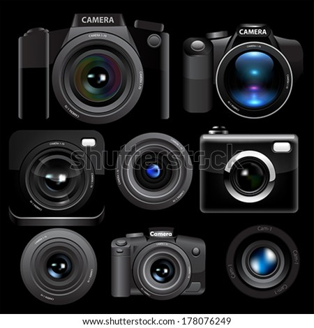 Camera set on black background. - stock vector