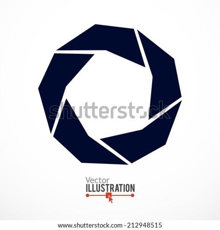 Camera shutter abstract icon. Vector illustration. - stock vector