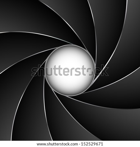 Camera shutter aperture vector background with white copy space. - stock vector