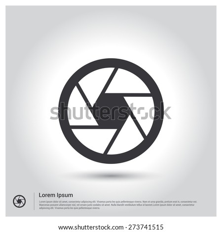 Camera Shutter Icon, Gallery Icon pictogram icon on gray background. Vector illustration for web site, mobile application. Simple flat metro design style. Outline Icon. Flat design style - stock vector