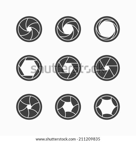 Camera shutter icons. Vector. - stock vector