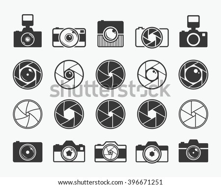 Camera shutter, lenses and photo camera icons set. Aperture and photography vector illustration for photo studio, photographer and digital media - stock vector