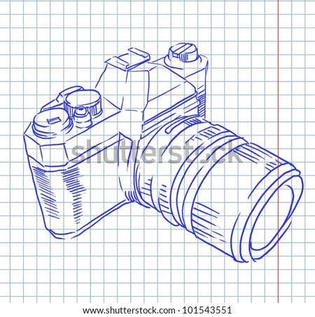 camera sketch - stock vector