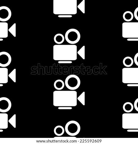 Camera symbol seamless pattern on black background. Vector illustration. - stock vector