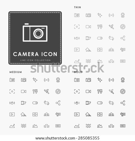 camera thin, medium and bold minimal outline icons - stock vector