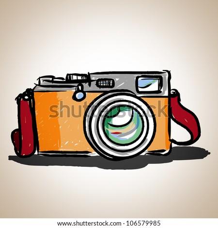 Camera toy vintage; illustration vector - stock vector