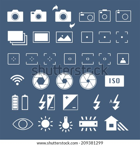 Camera vector icons set - stock vector
