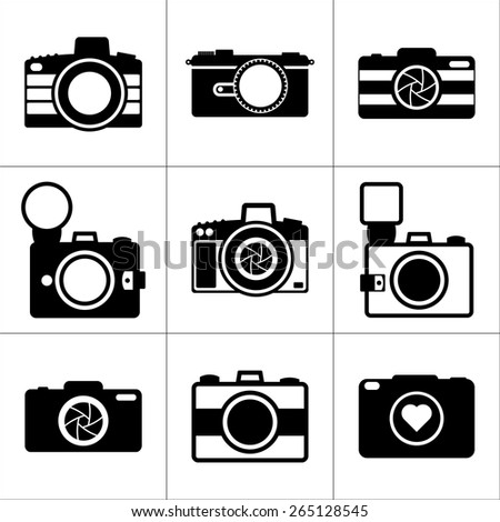 Camera vector icons set. Icons for photographers. - stock vector