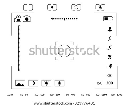 Camera viewfinder display. Exposure and composition focus, electronic zoom, photography optical, finder and screen, vector illustration - stock vector
