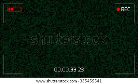 Camera Viewfinder Rec Background. Screen Video on a Noise Background. Vector illustration. - stock vector