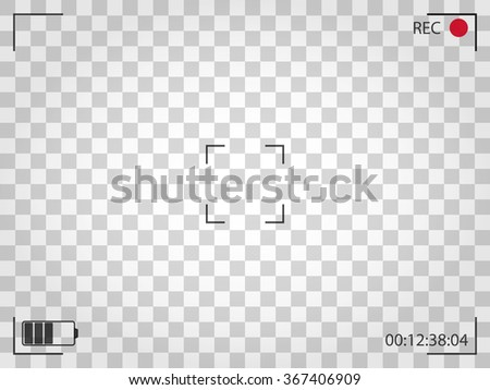 Camera viewfinder. Vector illustration. Bounding box, battery icon and  recording indicator. - stock vector