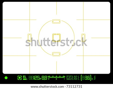 camera viewfinder, viewfinder with focal points - stock vector