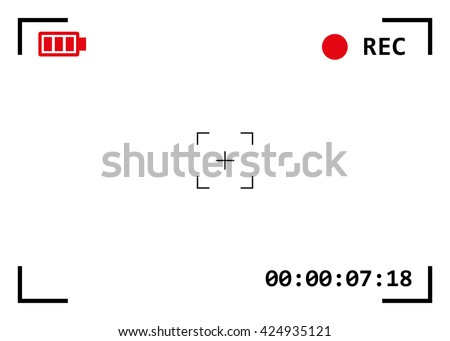 Camera viewfinder with exposure and camera settings. Video screen on a white background.  - stock vector