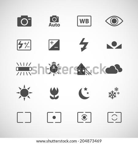 camera white balance icon set, each icon is a single object (compound path), vector eps10 - stock vector