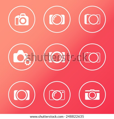 camera white round icons vector illustration, eps10, easy to edit - stock vector