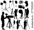 cameraman and film objects vector - stock photo