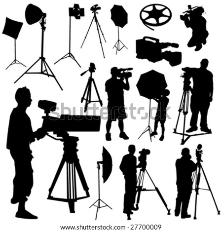 cameraman and film objects vector - stock vector