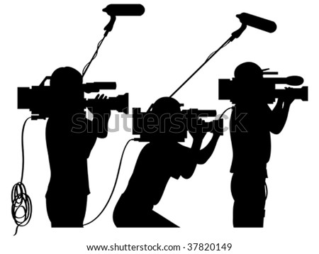 Cameraman at work silhouettes side view - stock vector