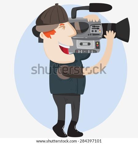 cameraman is recording - stock vector
