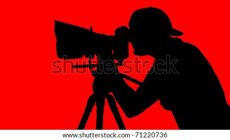 cameraman looking through movie camera on a tripod - stock vector