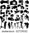 cameraman,photographers and cameras - vector - stock vector