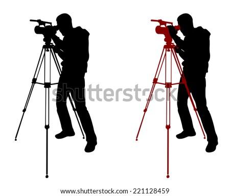 cameraman silhouette - stock vector