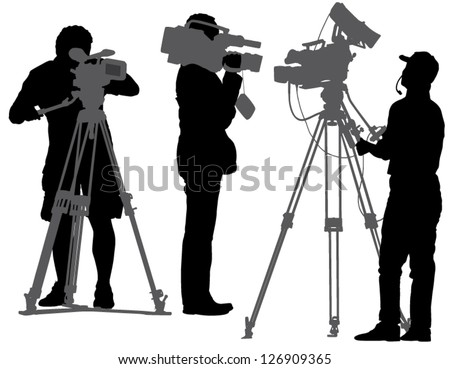 Cameraman Silhouette on white background - stock vector
