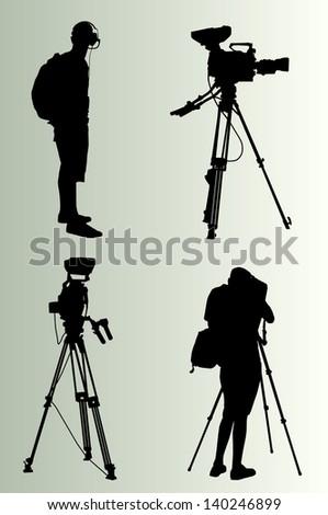 Cameraman silhouette vector background - stock vector