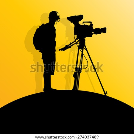 Cameraman silhouette vector background - stock vector