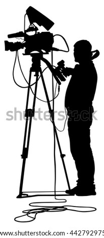 Cameraman silhouette with video camera on event, concert, sport event,  isolated on background. Vector illustration.  Breaking news in studio. Broadcast il live. - stock vector