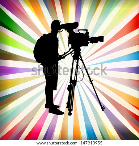 Cameramen and camcorder video operator vector background - stock vector