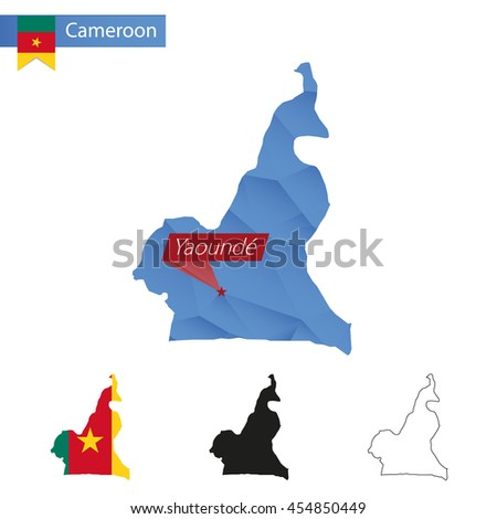Cameroon blue Low Poly map with capital Yaounde, versions with flag, black and outline. Vector Illustration. - stock vector