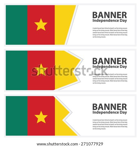 cameroon Flag banners collection independence day - stock vector
