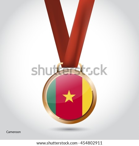 Cameroon Flag in Bronze Medal. Olympic Game Bronze Medal. Vector Illustration - stock vector