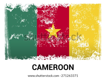 Cameroon grunge flag isolated vector in official colors and Proportion Correctly. country's name label in bottom - stock vector