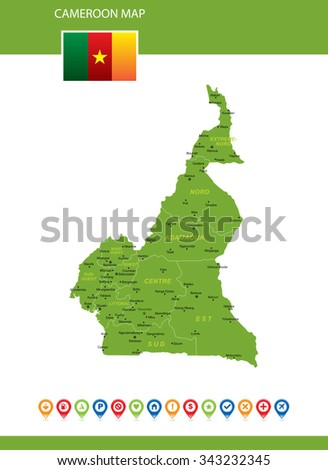 Cameroon Map - stock vector