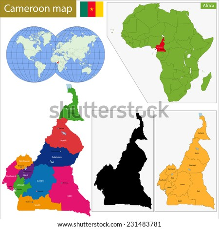 Cameroon map with high detail and accuracy and it is divided into provinces which are colored with different bright colors - stock vector
